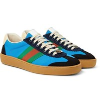 Gucci Jbg Webbing Suede And Leather Trimmed Nylon Sneakers Light Blue