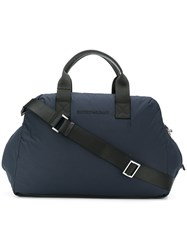Emporio Armani Zipped Holdall Leather Polyester Blue
