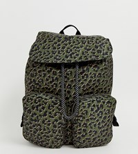 Accessorize Dark Leopard Print Hiker Backpack With Front Pockets Multi