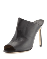 Manolo Blahnik Kando Leather Peep Toe Mule