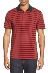 Men's Volcom 'Wowzer Stripe' Slim Fit Jersey Polo Red Drip