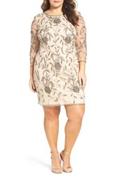 Pisarro Nights Plus Size Women's Embellished Floral Mesh Cocktail Dress