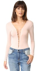 Alexander Wang Lace Up Long Sleeve Bodysuit Blush