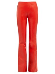 Acne Studios Lizzie Leather Front Bootcut Trousers Red