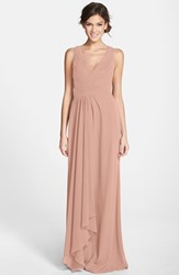 Women's Monique Lhuillier Bridesmaids Sleeveless V Neck Chiffon Gown Nordstrom Exclusive