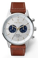 Triwa Loch Nevil Leather Strap Watch 42Mm Brown White Silver