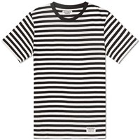 Wacko Maria Striped Crew Tee White And Black