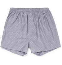 Sunspel Polka Dot Cotton Boxer Shorts Gray