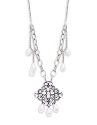Gerard Yosca Crystal And Faux Pearl Statement Necklace Silver