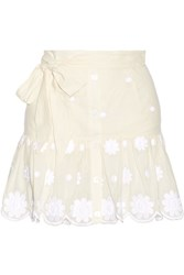 Miguelina Emy Belted Embroidered Cotton Voile Mini Skirt Cream