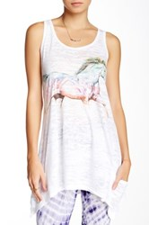 Go Couture Printed Burnout Tank White