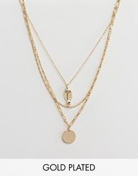 Orelia Gold Plated Key Cluster Layering Necklace