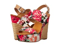 Jessica Simpson Anika Soft Pink Combo Blossom Floral Print Women's Wedge Shoes Red
