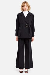 Christophe Lemaire Lightweight Asymmetrical Wool Jacket Black