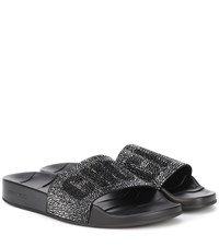 Jimmy Choo Rey Crystal Embellished Slides Black