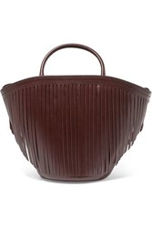 Trademark Fringed Leather Tote Burgundy