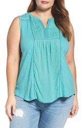 Lucky Brand Plus Size Women's Embroidered Pintuck Tank
