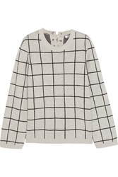 Madewell Regents Checked Cotton Sweater Gray