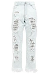 Versus By Versace Woman Cropped Chainmail Embellished Distressed High Rise Straight Leg Jeans Light Denim