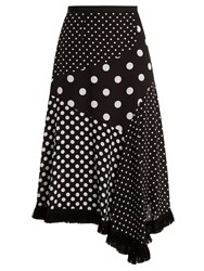 Andrew Gn Polka Dot Print Asymmetric Silk Skirt Black White