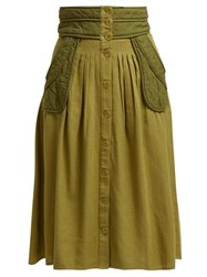 Sea O'keefe Quilted Patch Twill Canvas Midi Skirt Khaki