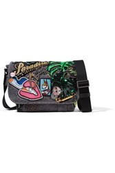 Marc Jacobs Paradise Embellished Cotton Canvas Shoulder Bag Dark Gray