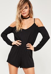 Missguided Black Long Sleeve Jersey Cold Shoulder Romper