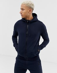 Boss Zounds Zip Through Hooded Logo Sweat In Navy