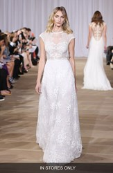 Women's Ines Di Santo 'Inspired' Embellished Neck Cap Sleeve Lace A Line Gown In Stores Only
