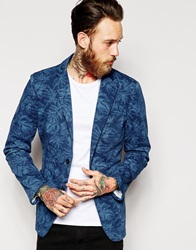 Sisley Blazer With All Over Floral Print In Slim Fit Blue