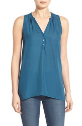 Junior Women's Lush Sleeveless High Low Tunic Top Teal