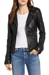 Lamarque Leather Biker Jacket Black
