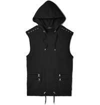 Balmain Slim Fit Cotton Jersey Hooded Gilet Black