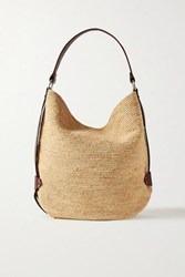 Isabel Marant Bayia Leather Trimmed Woven Straw Tote Beige