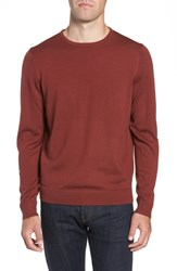 Nordstrom Big And Tall Shop Crewneck Merino Wool Sweater Rust Madder