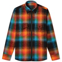 Raised By Wolves Double Plaid Shirt Jacket Orange