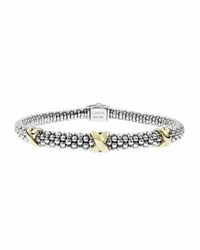 Lagos Silver And 18K Gold Caviar X Bracelet 6Mm