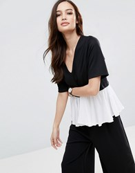 Asos Top With V Neck And Ruffle Hem Detail Black