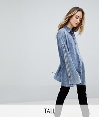 Noisy May Tall Acid Wash Longline Denim Shirt Blue