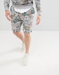 Only And Sons Jersey Shorts With All Over Print Light Grey Melange