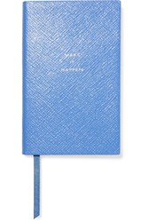 Smythson Panama Make It Happen Textured Leather Notebook Sky Blue