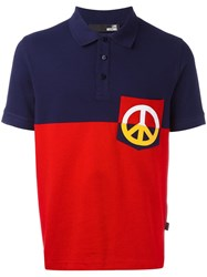 Love Moschino Peace Patch Polo Shirt Blue