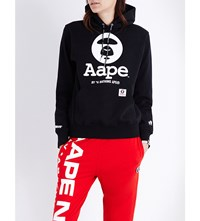 Aape By A Bathing Ape Logo Print Cotton Blend Hoody Black