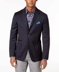 Tallia Men's Big And Tall Slim Fit Navy Stripe Soft Wool Sport Coat