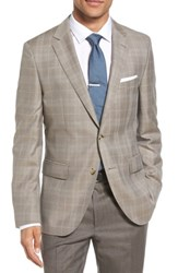 Boss Men's Jeen Trim Fit Windowpane Wool Sport Coat Medium Beige