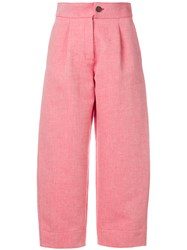 Carven Wide Leg Cropped Pants Red