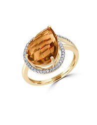 Effy Sunset Citrine Diamond 14K Yellow Gold Ring Orange