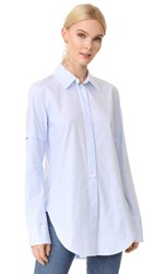 Helmut Lang Ticking Stripe Tuxedo Shirt Light Blue
