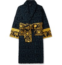 Versace Printed Satin Trimmed Logo Jacquard Cotton Terry Robe Blue