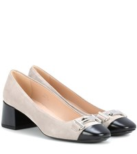 Tod's Double T Suede Pumps Grey